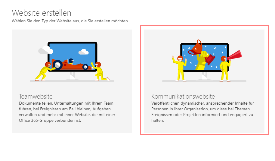 SharePoint Kommunikationswebsites - Website erstellen