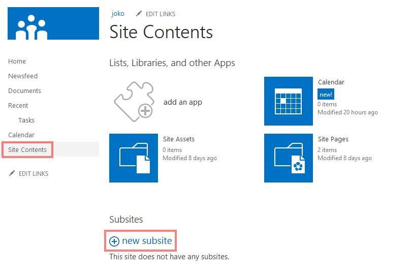 Erstellen von Unterwebseiten in SharePoint 2013 1