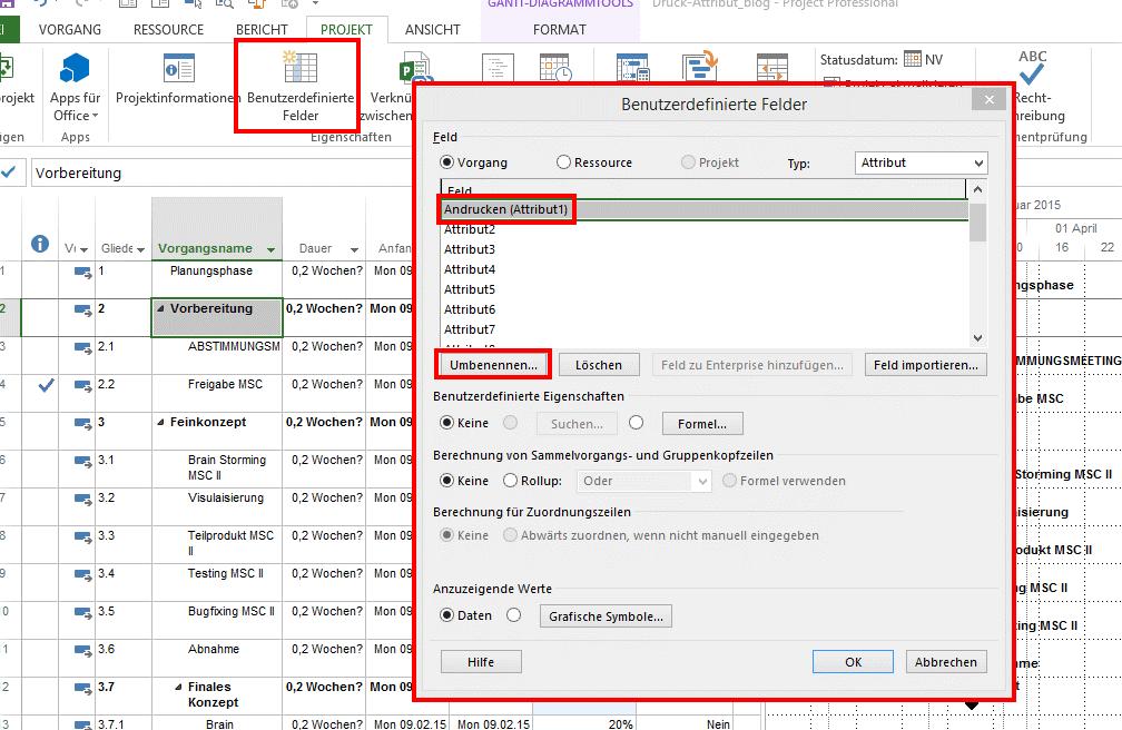 Microsoft Project 2013 - Auswahl Vorgänge drucken 1