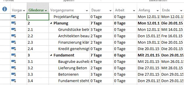 Nummerierung von Vorgängen 1
