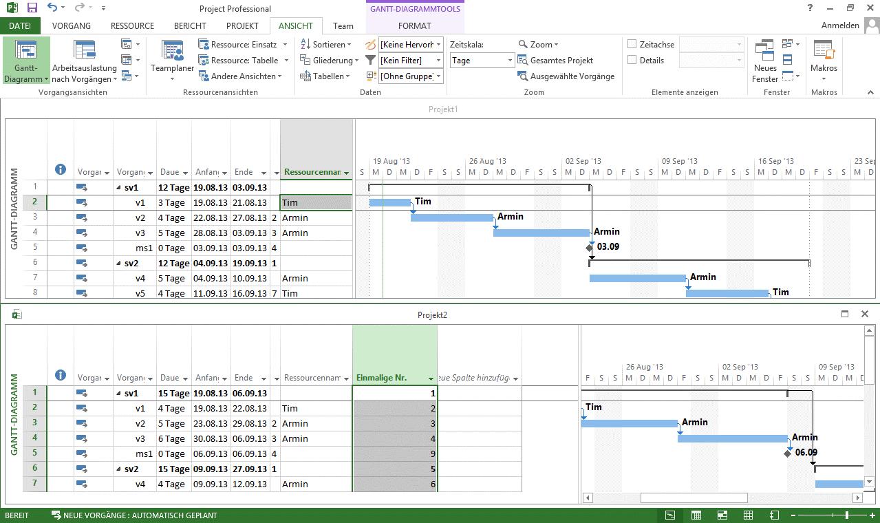 mehrere Projektdateien in einem Fenster anzeigen 3
