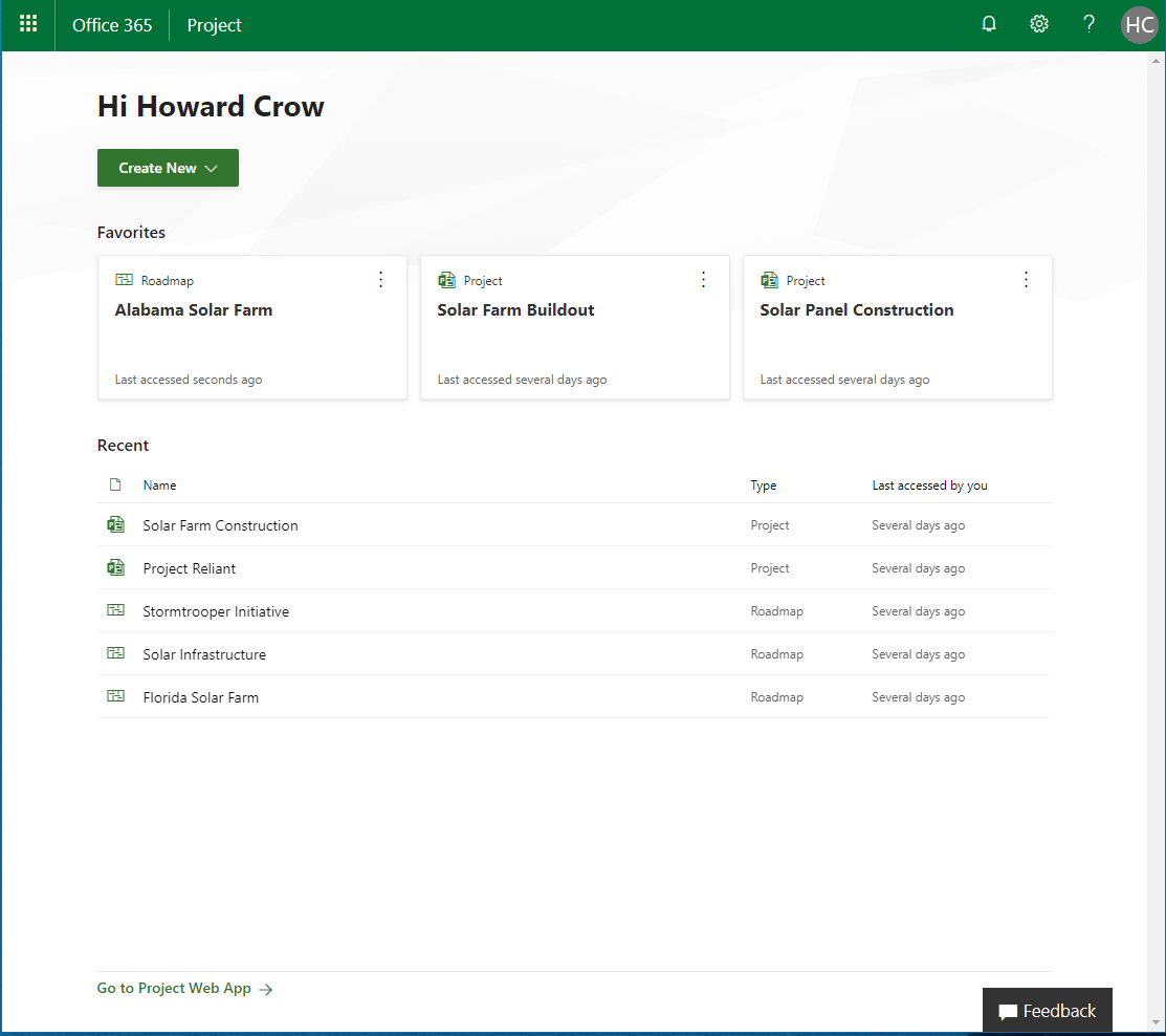 Microsoft Project Home