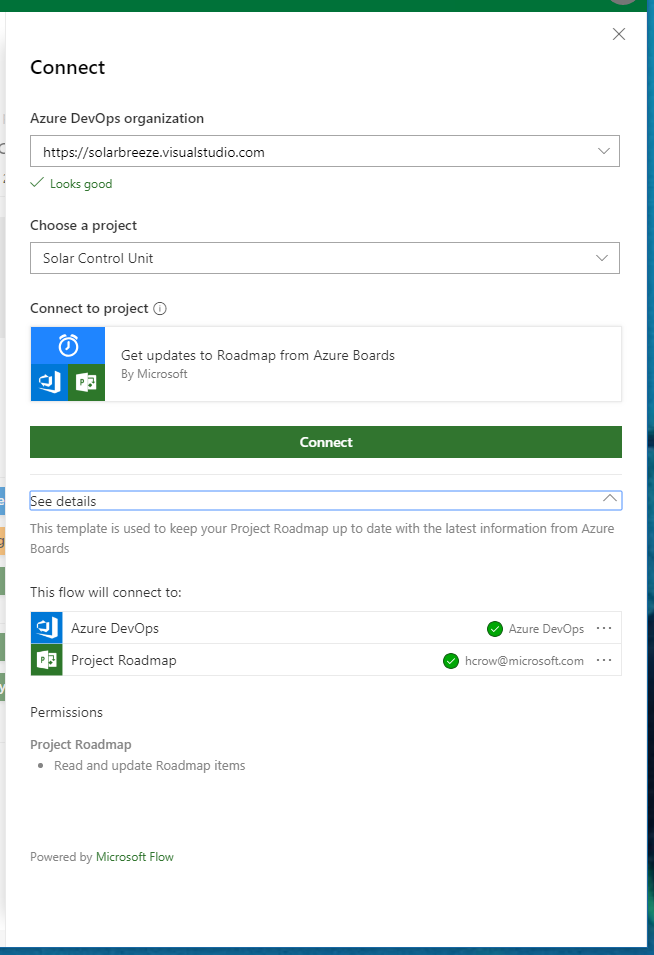 Microsoft Project Roadmap Connection