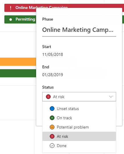 Microsoft Project Roadmap Set Status